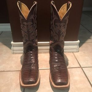 Chocolate Vintage Belly Caiman Western Boot.